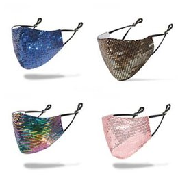spring fasion UK - Sipping Fasion Bling Bling Sequin Mask Spring Summer Outdoor Suncreen Anti-Dust Breatable Wasable Mask#266#480