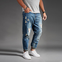 black cargo jeans for men NZ - Ripped Jeans For Men Blue Black Denim Mens Jean Homme Harem Hip Hop Plus Size Trousers 44 46 48 Mens Uomo Fashions Jogger Pants CX200815
