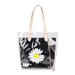 simple clutches for women NZ - 2pcs set Daisy PVC Transparent Shoulder Bags for Women PU Leather Totes Handbags Ladies Girls Summer Travel Simple Clutch Pouch