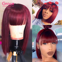 99j red straight human hair 2021 - 99J Burgundy Bob Wig Pixie Cut Short Human Hair Brazilian Remy Straight Glueless Wigs With Bangs For Black Women Wine Red Non Lace Front Wig