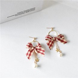 styling earring NZ - Simple Bow Style Earrings Women Creative Cool Versatile Plaid Hong Ventilation Network Red Ear Stud free shipping nCPI#