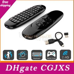 gyroscope controller NZ - C120 Fly Air Mouse Mini Wireless Qwerty Keyboard Remote Control Game Controller For Android Tv Set Top Box Mini Pc 6 Gyroscope Q3 Free
