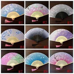 peonies picture UK - Japanese style Fan Silk Female Fans Peony Chinese Painting Picture Retro Fans Silk Folding Hold Fan Party Favor GGA2582