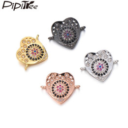 copper jewelry wholesale Australia - Pipitree Vacuum Gold Color Heart Charms Copper Micro CZ Zircon Evil Eye Charm for Lovers Bracelet Jewelry Making Accessories