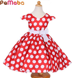 baby girls fashion dot bow dresses Australia - PaMaBa Summer Elegant Fashion Children's Princess Dresses White Dot with Bow Baby Girls Ball Gown Birthday Party Clothes Vestido 0922