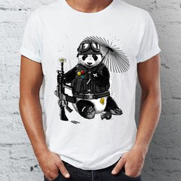 panda tee UK - Men's T Shirt Badass Soldier Panda Black and White Artsy Tee