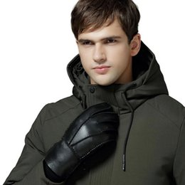 winter man genuine leather gloves NZ - 2020 New Luxurious Men Sheepskin Style Genuine Leather Gloves Classical Warm Winter Glove Lining Wool Multi Colors Wholesale