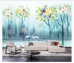 small house kitchens Australia - Custom photo wallpaper 3d mural wallpapers for living room Small fresh flower tree rural landscape background wall papers mural home decor