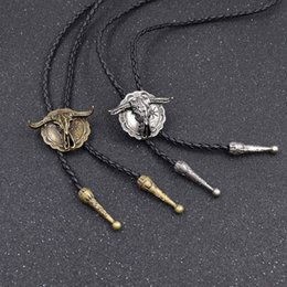 Wholesale head polo shirts for sale – custom necklace big bull head bolo tie Shirt chain polo collar shirt necklace rope leather Western tie FrYna