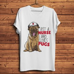 Wholesale nurse shirts for sale – custom cute Pug Dog Nurse funny tshirt men summer new white short sleeve casual homme t shirt unisex streetwear tee
