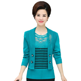 Wholesale fake sweater online – oversize Fake Two Pieces Women Sweater Coat Fall Winter Mother Diamond Stripe Pullover Fashion Warm Knitwear Knitted Tops