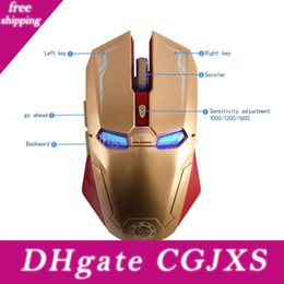 computer iron man NZ - 100pcs Wireless Mouse 2 .4g Iron Man 6 -Key Mute Game Suitable For Pc Computer Notebook With Usb Receiver 1600dpi Dhl Free Shipping