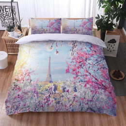 Wholesale twin towers online – design 2 Tower Florals Soft Polyester Scenic Bedding Set Printed Duvet Cover Set Twin Full Queen King Size Dropshipping Sj LY