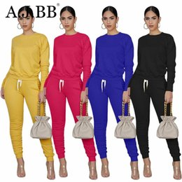 Wholesale womens sport shirt xl for sale – custom Womens Suit Autumn new fashion solid color sports two piece leisure o neck long sleeve T shirt and trousers