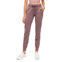 Wholesale L-89 Spandex Yoga Jogger Pants Push Up Sports Women Fitness Tights with Pocket Femme High Waist Legins Joga Dropshipping naked workout