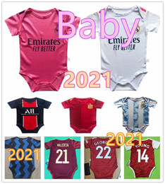 Wholesale baby black yellow shirts for sale – custom Baby jersey Real Madrid Spain Argentina baby football jersey months soccer shirt Crawling suit