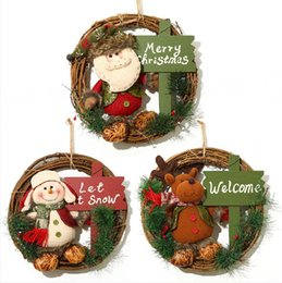wall ring decoration Canada - Christmas Wreath 33cm Xmas Rattan Door Hanging Christmas Gifts Vine Ring Wall Flower Garland Snow Man Santa Decoration Seashipping LJJP292