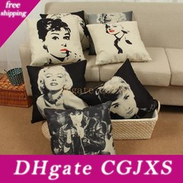 Wholesale marilyn print for sale – custom New Decorative Pillow Case Printing Audrey Hepburn Marilyn Monroe Square Office Back Cushion Case Home Pillowcase Home Textile g