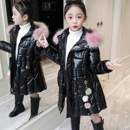 Wholesale coat for young for sale – winter Girls Warm Coat Winter Parkas Outerwear Teenage Outfit Children Kids Young Girl Fur Hooded Clothes for Years C0924