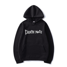 Wholesale anime death note hoodie for sale - Group buy Death Note Solid Color Letter Printed Hoodies Harajuku Hip Hop Streetwear Men Women Anime Hooded Sweatshirt Pullover Hoodie Tops