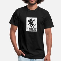 basic card Australia - El Diablito Loteria Mexican Tarot Card T Shirt Men Fitness Tee Shirt Crew Neck Formal Fitness Basic Spring Autumn Natural