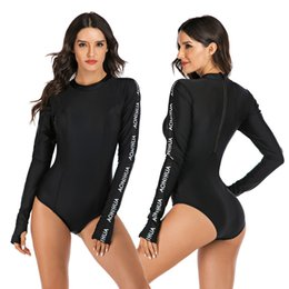 sun swimwear NZ - Women Rash Guard Long Sleeve One Piece w  Back Zipper Surfing Swimsuit High Neck Padded Sun UV Protection Swimwear Surfing Suits