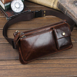 vintage leather fanny pack Canada - Men Oil Wax Genuine Leather Cowhide Vintage Travel Riding motorcycle Hip Bum Belt Pouch Fanny Pack Waist Purse Clutch Bag