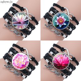 lotus flower bracelets Australia - Beautiful Flower Lotus For Women Men Party Fashion Ladies Multilayer Black Leather Bracelet Bangle Jewelry Glass Cabochon