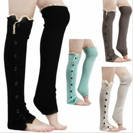 stockings for legs Australia - Lace Trim Flat Cuffs Button Down Knit Warmers Knee High Boot Socks Winter Boot Warm Socks Knit Leg Warmer for Christmas Sr1H#