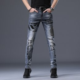 hot tight jeans UK - hG7Nk Smoky men's tight Jeans tight stretch slim jeans men's European fashion hot diamond printing youth fashion pants gray skinny pants