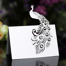 dimensional birthday cards 2021 - Three-dimensional Peacock Hollow Card Sign In Table Wedding Birthday Hollow Seat Card Wedding Butterfly Table 100pcs 6Z