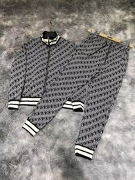 full body suit pattern NZ - 2020 autumn and winter new men's casual zipper suit, hardware zipper accessories, full-body marking jacquard pattern, customized thread, hig