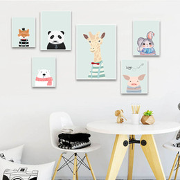 Animal Cartoon Picture Giraffe Squirrel Rabbit Nursery Children Poster Canvas Wall Art Print Painting Nordic Baby Bedroom Decor on Sale