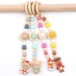 toy moose UK - Baby Room Decoration Pendant Moose Snowman Christmas Toy Wood Teething Ring Silicone Woven Teether Beads Animal Children Molar Stick Pendant