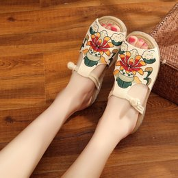 different shoes UK - beef Different handmade ethnic style wedge National slippers heel mom shoes fish mouth cO2Yj soft tendon bottom embroidered women's sli eTUD4