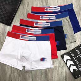 Wholesale cuecas briefs men resale online - Fashion Mens Underwear CHAMP Letter Boxers Cotton Breathable Underpants Men Cuecas Shorts U Convex Short Pants High Waist Boxers Color INS