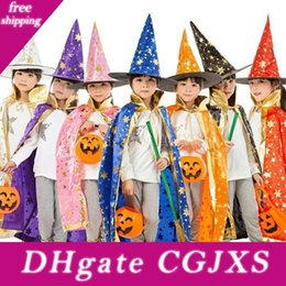 Wholesale robes costumes resale online - Halloween Cloak Cap Party Cosplay Prop For Festival Fancy Dress Children Costumes Witch Wizard Gown Robe And Hats Costume Cape Kids Wa4233