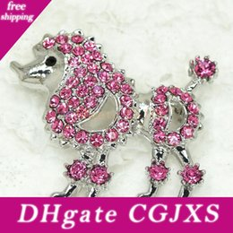 plastic clothes pins NZ - 12pcs  Lot Wholesale Crystal Rhinestone Poodle Dog Animal Brooches Fashion Clothing Ornaments Brooch Pin C970