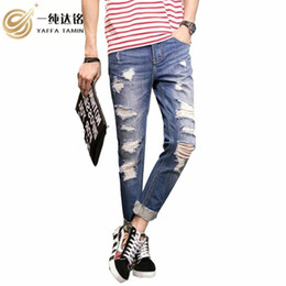 zipper pants for boys NZ - Casual Men pant Jeans Denim boy Jeans For men pant Hollow Out 2020 Autumn Winter Denim Pants Loose Long Trousers 18-35 years old