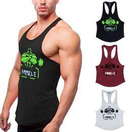 venda por atacado Muscle aptidão Regatas Homens Musculação roupa de treino para homem impresso de algodão sem mangas Casual Coletes Stringer Singlets Matphxb