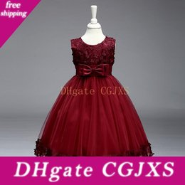 vintage baby clothes UK - 2019 Vintage Lovely Burgundy Baby Infant Toddler Baptism Clothes Flower Girl Dresses Knee Length With Lace Bow Flowers Tutu Ball Gowns Cheap