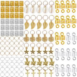 Toptan satış Afrika Dreadlocks Takı Örgü süslemeler Shell Yıldız Çapraz Yaprak Charm Saç Aksesuarları Halka Tüpler Manşetleri Dreadlocks Dread Boncuk 120PCS / Seti