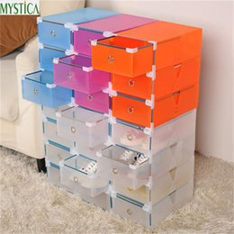 eco friendly shoe storage boxes NZ - NEW5PCS Eco-Friendly Shoe Storage Box Case Transparent Plastic Storage Box Rectangle PP Shoe Organizer Thickened drawer Shoe Box T200104