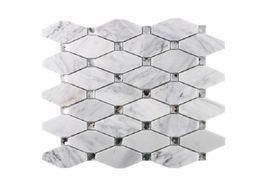 2020 hot sale Geometric diamond mosaic glass + natural marble stone mosaic tile TV background wall Mosaic tiles A01 on Sale
