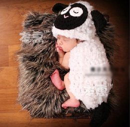 Wholesale sheep costume for sale – halloween Children s knitted photography suit super cute little sheep handmade hat baby Prop costume Body clothing jumpsuit photography studio costume