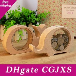 Wholesale best pigs online – design Wooden Animal Money Saving Box Best Gifts For Kids Elephant Piggy Banks Pig Whale Hippo Money Storage Box Wen7113