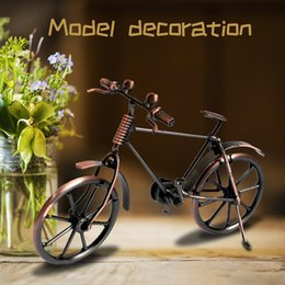 Discount bicycle home decor Bicycle Model Retro Style Home Decor Display Gift Kids Iron Art Office Ornament