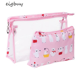 piece cosmetic bag set Australia - Cartoon Transparent PVC Waterproof Cosmetic Bag Two Piece Set of Portable Large Capacity Travel Suit Toiletries Cosmetic Bag