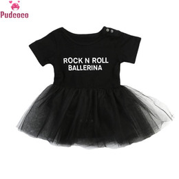 rock roll clothes 2020 - New Born Infant Toddler Clothes Baby Girl Romper Princess Dress Print Letter Rock N Roll Tulle Tutu Lace Dresses cheap r