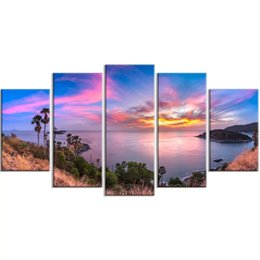 oil paint island Australia - 5 Pcs Canvas Island Scenery Pictures Sea Beauty Home Decoration Paintings Poster HD Prints Wall Art Modular Living Room Framed